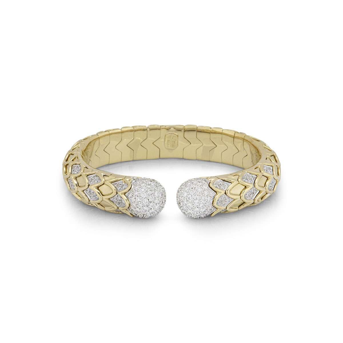 Yellow Gold Diamond Cuff Bangle